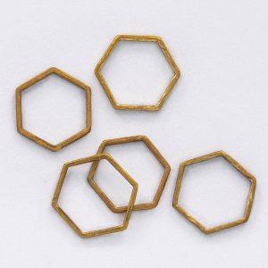 Anillo Hexágono Latón - Diurna Metal Jewelry