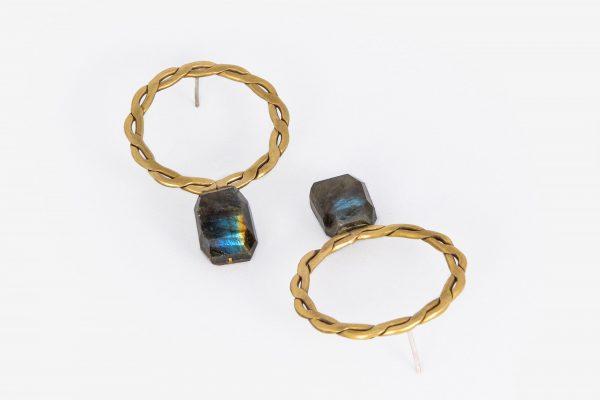 Aro Trenzado más Labradorita - Diurna Metal Jewelry